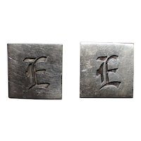 Mexican Sterling Letter E Cuff Links Perfectly Monogrammed in Dimensional Gothic Design