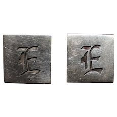 Big Sterling Letter E Cuff Links Perfectly Monogrammed in Dimensional Gothic Design