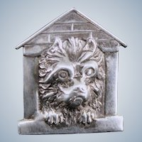 Sterling Doggie in Little Dog House Pin Vintage Silver Brooch
