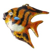 """Sterling Tiger Angelfish Chinese Puffy Enamel Fish Pendant or Charm 1.25"""" Inches With Lovely Detailed Designs"""