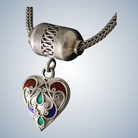 """Vintage Sterling Necklace With Enameled Heart Pendant and 18"""" Chain"""