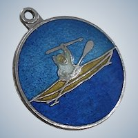 Sterling Alaskan Inuit in Kayak Charm from Pacific North West for Bracelet 1960's By BMCO