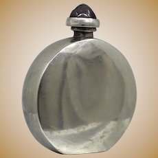 Round Sterling Perfume Bottle From Mexico With Amethyst Top