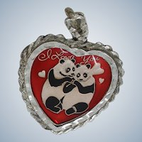 Sterling Pendant With Enameled Pandas