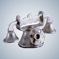 Sterling Telephone Dimensional Charm for Bracelet Vintage 40's Silver