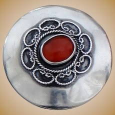 Sterling Pill Box With Carnelian Embellished Lid Vintage Silver From Israel Perfect for Earrings