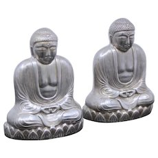 Gorgeous Sterling Buddhas Salt & Pepper Shakers Vintage Japanese Solid Silver Set