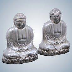Gorgeous Sterling Buddhas Salt & Pepper Shakers Vintage Japanese Solid Silver Set