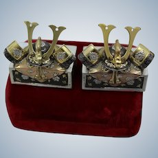 Sterling Silver Samurai Helmets Japanese Salt Pepper Shakers Exquisite Enamel and Gold Vermeil