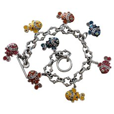 Sterling 3 Dimensional Fish Charm Bracelet With Toggle Clasp