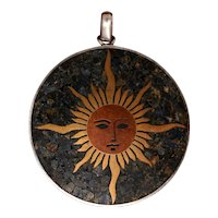 Cheerful and Elegant Sun Pendant From Mexico With Radiant Brass and Copper Sun