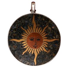 Joyful and Elegant Sun Pendant From Mexico With Radiant Brass and Copper Sun