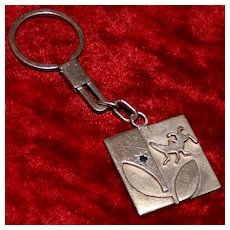 Sapphire and Cricket or Grasshopper Theme, Heavy Artist Hand Made Sterling Silver Key Ring and Chain