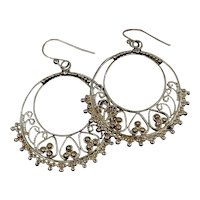 Sterling Hoop Earrings With Gold Plating and Textural Design Versatile and Gorgeous