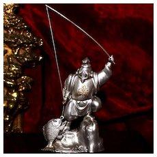 "Sterling Good Fortune God ""Ebisu"" Prosperity and Abundance Deity From Japan Vintage Figural Silver"