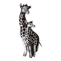Sterling Giraffe Pin from Mexio, Solid Silver Pin With Enameled Detail