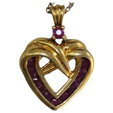 Sterling Heart Chain Necklace With Solid Sterling Heart Pendant With Rubies
