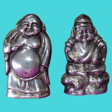 Buddha and Ebisu 950 Sterling Figural Salt and Pepper Shakers Japanese Gods of Good Luck and Prosperity