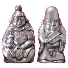 "Sterling Japanese Salt Shakers With Warrior Deity, ""Bishamonten"" & ""Fukurokuju"", Deity of Joy, Wealth and Longevity"