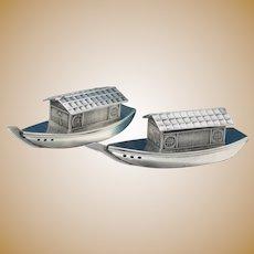 Sterling Sampan Boats Japanese Salt Pepper Shakers Vintage 1950's