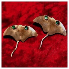 Sterling Stingray Earrings With Wiggly Tails and Gold Vermeil and Glass Eyes