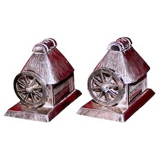 Sterling Tea House With Moving Water Wheels Japanese Silver Salt and Pepper Shakers