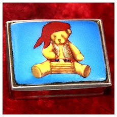 Sterling Silver Teddy Bear Trinket Box Perfect For Earrings Cuff Links or Pill Box