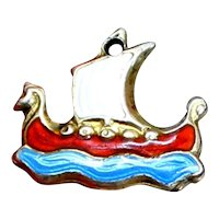 Eric Christophersen 1960's Sterling Viking Ship Charm From Norway With Perfect Enamel and Blue Ocean Waves