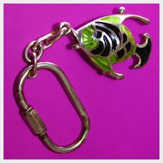 Italian Enameled Fish Key Chain Ring Sterling Silver Has Articulated Wiggly Tail Vintage 1960's