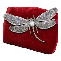 Sterling Dragonfly Brooch With Bamboo Design on Wings Faux Pearl Body Glass Eyes
