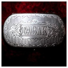 """Heavy Antique Hungarian Tobacco 4"""" Box With Handsome Die Rolled Engraving, No Monograms, 109 Grams"""