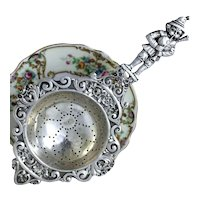 800 Silver Tea Strainer Fairy Tale & Floral Theme With German Piper Boy Handle