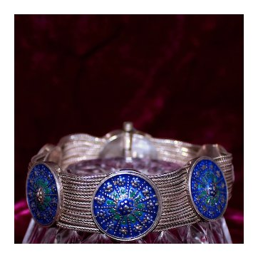 Gorgeous 9 Strand Sterling Silver and Enamel Bracelet From Istanbul, Turkey With Exceptional Artistry and Wearability