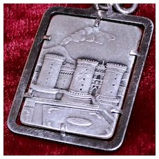 Vesuvius Volcano and Castle Nuvo in Naples Italy Vintage 800 Silver Key Ring Travel Souvenir