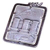 Vesuvius Volcano and Castle Nuvo in Naples Italy Vintage 800 Silver Key Ring Travel Souvenir