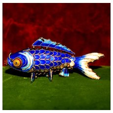 Vintage Silver Articulated Carp From China, Figural Blue Enameled Koi Fish Decorative Figural Fob With Original Chain
