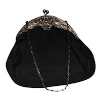 Late Victorian 800 Silver Peacocks and Black Purse 1904 San Francisco Balazs Handbag