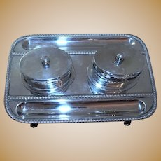 Rare Victorian English Sterling Silver Double Inkwell Footed Tray With Pen Holder 1901 London
