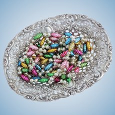 Charming 800 Silver Candy Dish With Basket Style Openwork and Dainty Floral Motif