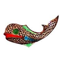 Sterling Whale Pin With Enamel and Gold Vermeil