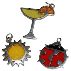 Sterling Charms With Colorful Resin For Stained Glass Effect With Three Charms For Bracelet : Red Ladybug, Summer Cocktail and Yellow Sun
