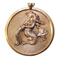 BIG Sterling Mermaid Medallion From Italy With Gold Vermeil and Applied Dimensional Design