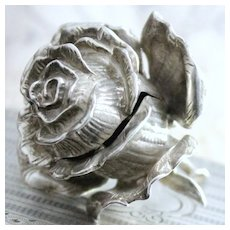 Antique Solid Sterling Silver Rose Box with Figural Form and  Exquisite Petals! Perfect Cache for Ring or Earrings Circa 1920