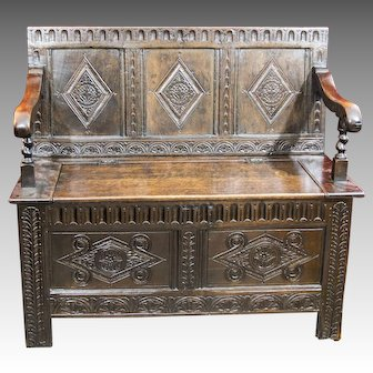 Antique 19th Century Charles II Style Carved Oak Bench or Settle