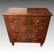 Antique 19th Century Victorian Flame Mahogany Chest of Drawers