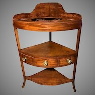 Antique 19th Century George III Mahogany Corner Washstand