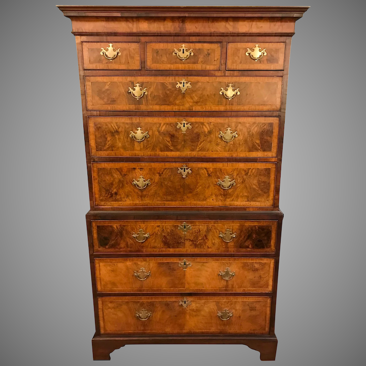 premium selection 5a080 c3aa2 Antique 18th Century George I Burled Walnut Tallboy Chest on Chest