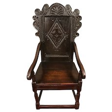 Antique 17th Century Charles II Oak Wainscot Chair