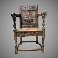 Antique 17th Century Charles I Oak Wainscot Chair