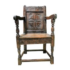 Antique 17th Century Charles I Oak Wainscot Chair